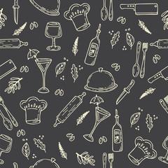 Hand drawn food seamless pattern. Sketch kitchen design elements