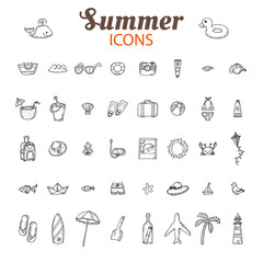 Hand drawn summer vector icon set. Beach icons collection. Vacat