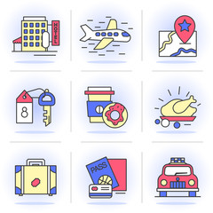 Flat Line Icons Set. Vacation, book a room, flight, navigation, Isolated Objects in a Modern Style for Your Design.