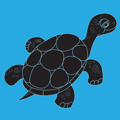 Illustration of the floating turtle silhouette