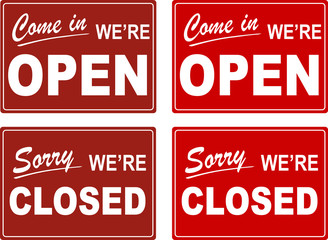 We are Open and Sorry, We are Closed, Shop Door Signs (Vector)