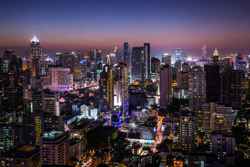 Keuken foto achterwand Nacht The cityscape is colorful in the night in Thailand.