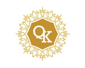 QK initial royal letter logo