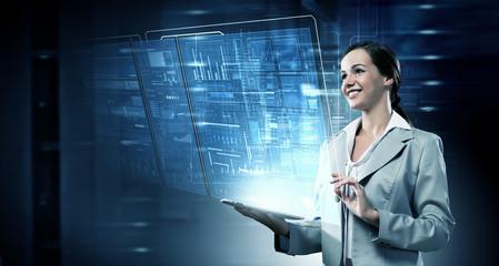 Woman using modern technologies