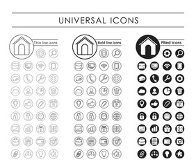 A set of universal black icons