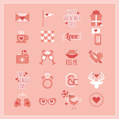 Cute Pink and white Valentine's Day, love, and romantic icons set