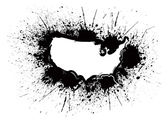 USA Map Outline Grunge Ink Splatter Vector Illustration