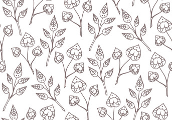 Seamless texture with delicate doodle plants. Vector background