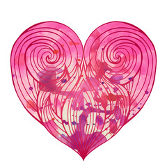 Doodle heart with the hair pattern and pink watercolor background