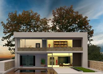 Render Evening House