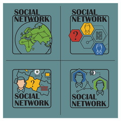 Stock illustration. Flat infographic. Social network