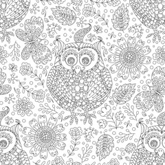 Vector flower owl seamless pattern. Black and white floral background.