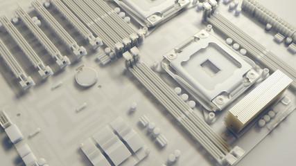 piece of computer hardware element,  3d render of motherboard circuit