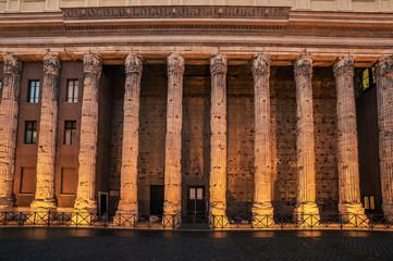 Fototapete - Rome, Italy: columns of Hadrians Temple in Piazza di Pietra