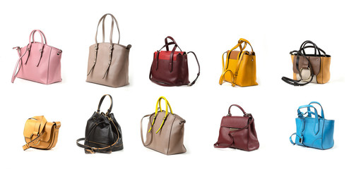 leather women handbags isolated on white background