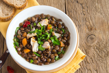 Lentil soup with chicken
