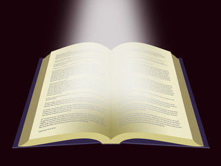 Light Shining on the Holy Bible. Book of Life - Word of God on dark background