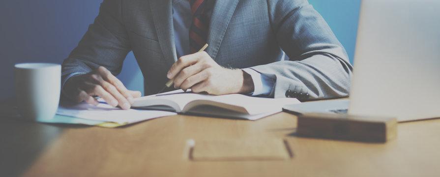 Businessman Working Determine Workspace Lifestyle Concept