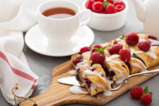 Braided raspberry danish with glaze
