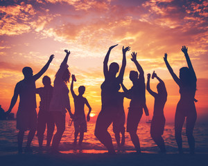 Young Adult Summer Beach Party Dancing Concept