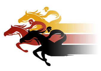 Horse Racing. Three racing jockeys at Full Speed. Colorful illustration on white background. Vector available.