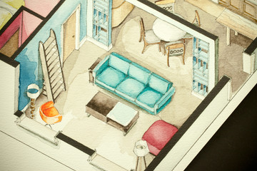 Living Room Isometric Watercolor Illustration