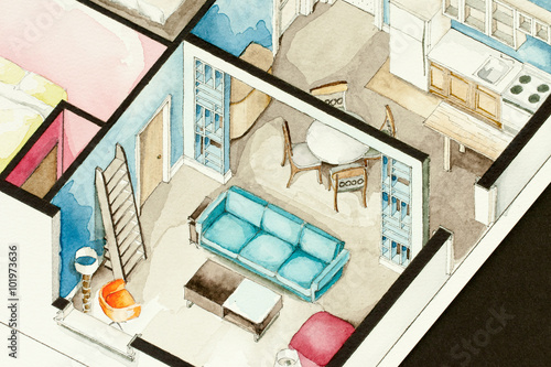 Watercolor Isometric Painting Illustration Of Living Room Residential Space With Sofa Ladder Table