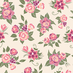 Seamless floral pattern vector background