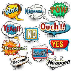 Bright comic speech bubbles screams, phrases, sounds