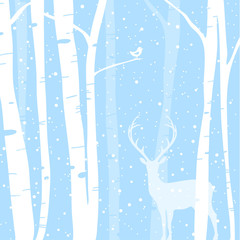 Winter Woods: Illustration of a birch forest in winter with a little bird & Stag
