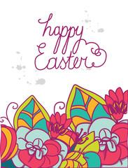 bright background with the greeting happy Easter with flowers