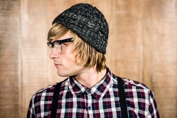 Side view of serious blond hipster