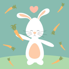 cute lovely cartoon bunny rabbit and carrots funny vector illustration