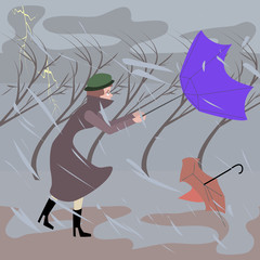 woman walking at stormy weather - funny cartoon illustration