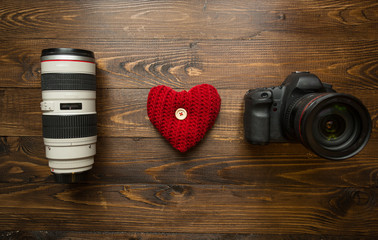 Concept of loving photography. I love photography made of lens,