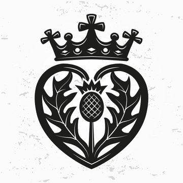 Luckenbooth brooch vector design element. Vintage Scottish heart shape with crown and thistle symbol logo concept. Valentine day or wedding illustration on grunge background.