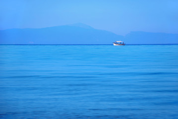 A white boat in the marine landscape