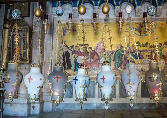 interior of Holy Sepulchre Church in Jerusalem, Israel