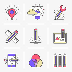 Flat Line Icons Set. Vector illustration, drawing, color matching .Isolated Objects in a Modern Style for Your Design.