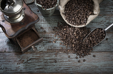 Coffee Beans and Grinder from Above