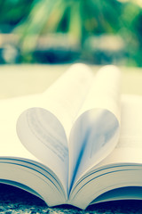 book with heart shape page open