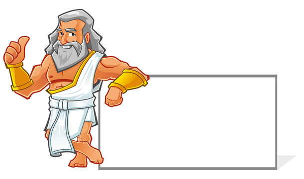 Illustration of a roman cartoon character with banner on the right side. You can adding logo or text on the banner.