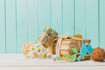 gift for a holiday on a wooden background