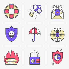 Set of vector icons into flat style.Threat and security, Kidnapping and Data Protection. Isolated Objects in a Modern Style for Your Design.