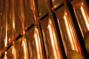 Shining organ tubes close up fragment