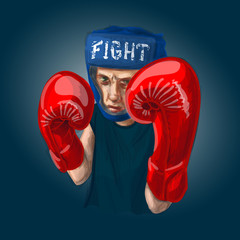 Thai boxer with red boxing gloves fighting