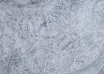 Texture of natural ice on frozen pond.