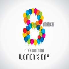 happy womens day design , 8 shape design by colorful balloon vector