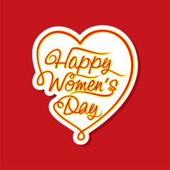 happy women day sticker or label design vector