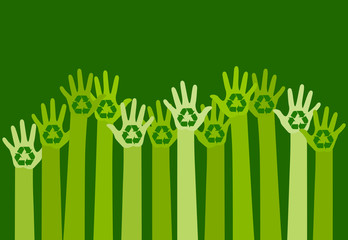 raising hands with a recycle symbol. eco friendly